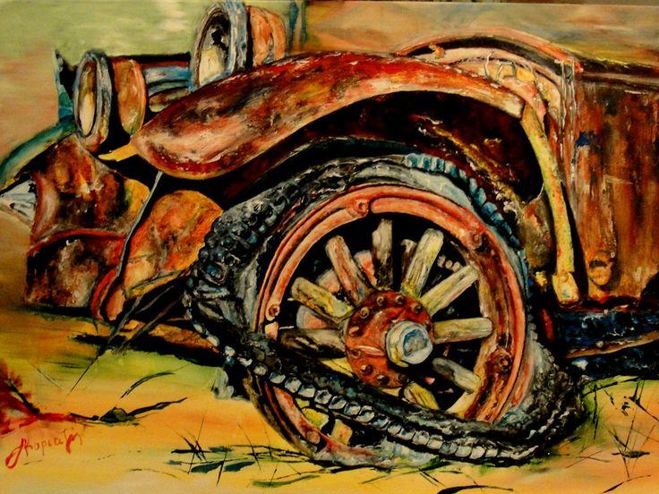 the wheel classic car flat tire Aphrodite kyriazi
