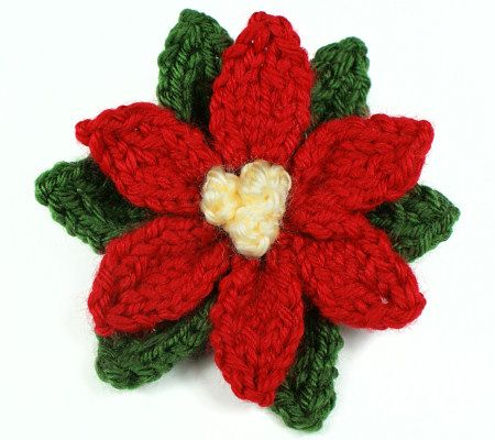 Knitting Pattern For Christmas Rose : knitted poinsettia by planetjune Knit Pinterest