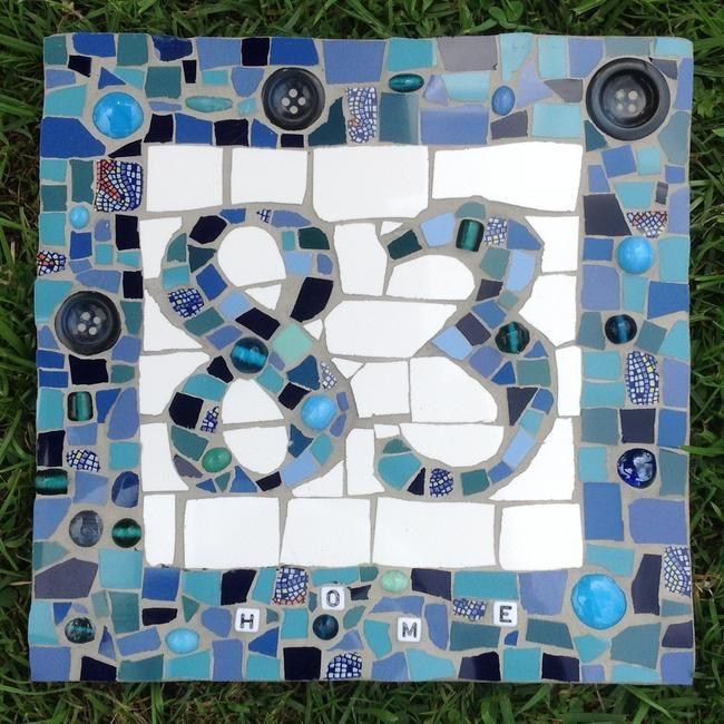 Mosaic House Number Blue by caroline budden £49.99
