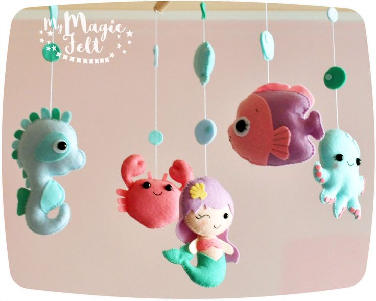 Under sea baby mobile ocean crib mobile Mermaid with Friends ocean nursery decor Shower gift Sea creatures nursery Mermaid crab Sea horse by MyMagicFelt on Etsy