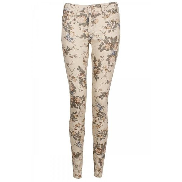 Cream Floral Skinny Jeans ❤ liked on Polyvore