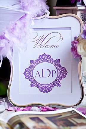 Pretty purple wedding monograms. Photography by suzygphotography.com