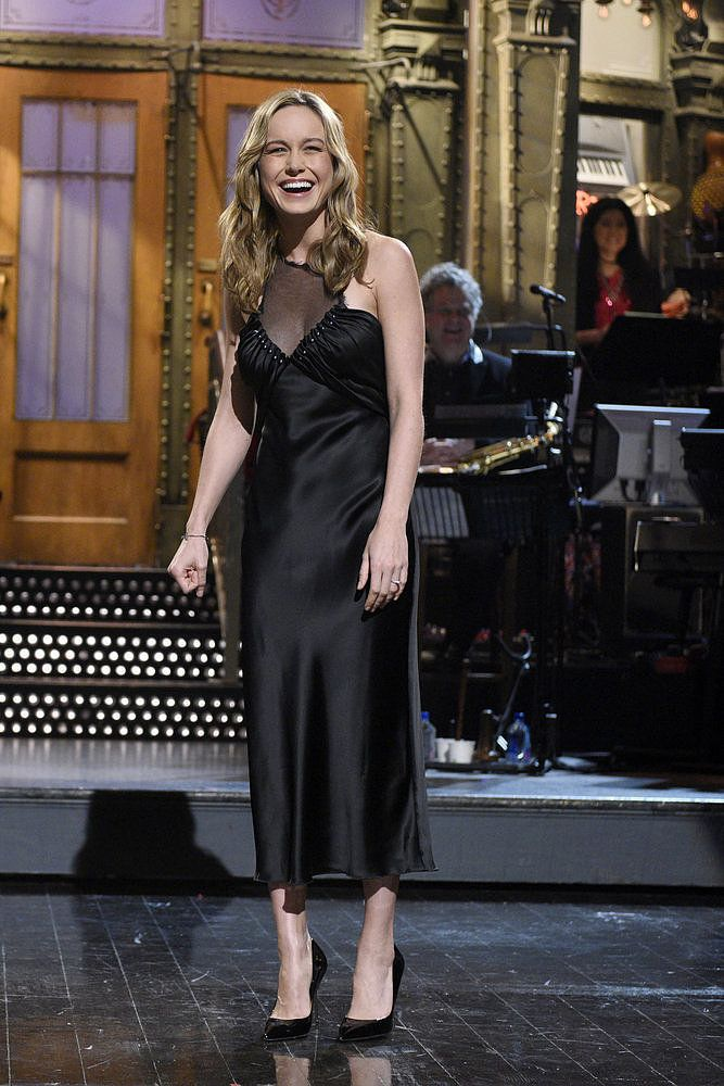 Brie Larson in Alexander Wang Pre-Fall 2016 - Hosted SNL With a Shiny New Engagement Ring on Her Finger - May 2016