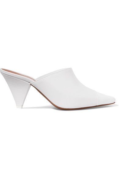 Heel measures approximately 60mm/ 2.5 inches White matte and patent-leather, clear Perspex  Slip on  Made in ItalySmall to size. See Size & Fit notes