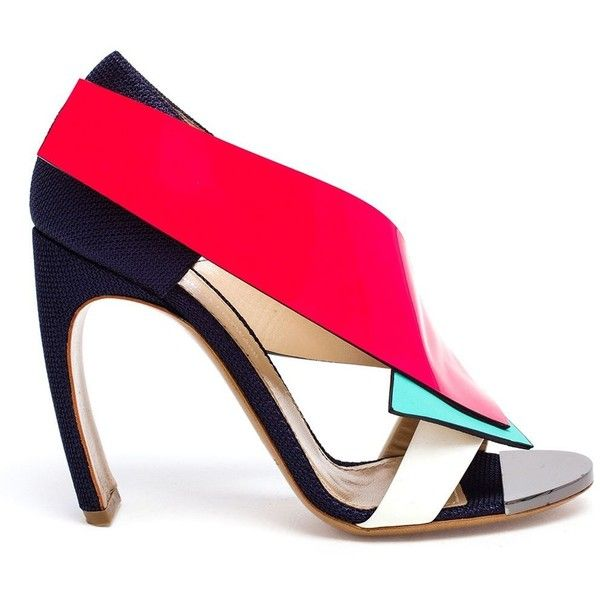 Nicholas Kirkwood Geometric Paneled Sandals ($1,138) ❤ liked on Polyvore featuring shoes, sandals, heels, blue, mirror shoes, nicholas kirkwood shoes, geometric shoes, blue sandals and neon pink sandals