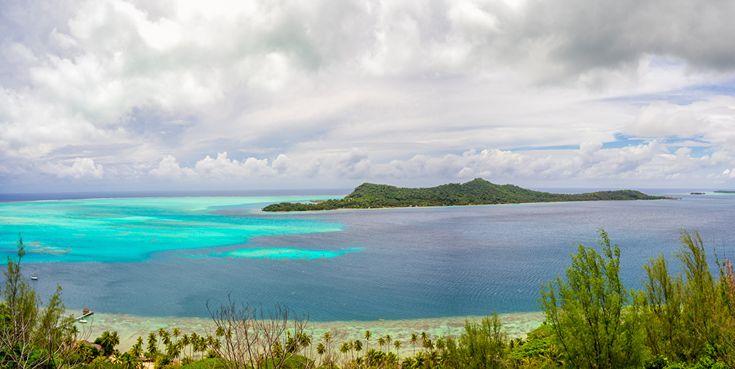 Французская Полинезия, Тропики, Пейзаж, Море, Побережье, Небо, Остров, Бора-Бора  берег Природа