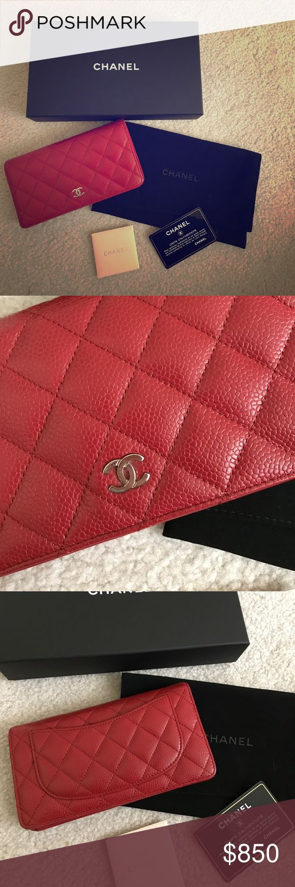 Chanel classic quilted cavair L-Yen Wallet 100% authentic!!! Comes with box, booklet and authenticity card. Good condition. Bought at the Nordstrom in Seattle. Retails $925+ tax = $1013. No trade and poshmark takes too much out of fees so price is firm on this app CHANEL Bags Wallets