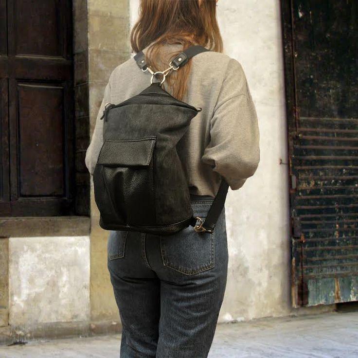 Handmade canvas-leather backpack,shoulder,messenger bag ,named ANNITA by iyiamihandbags on Etsy