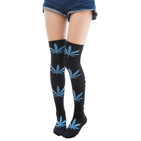 Warm Cotton Thigh High Marijuana Leaf Socks (7 colors)