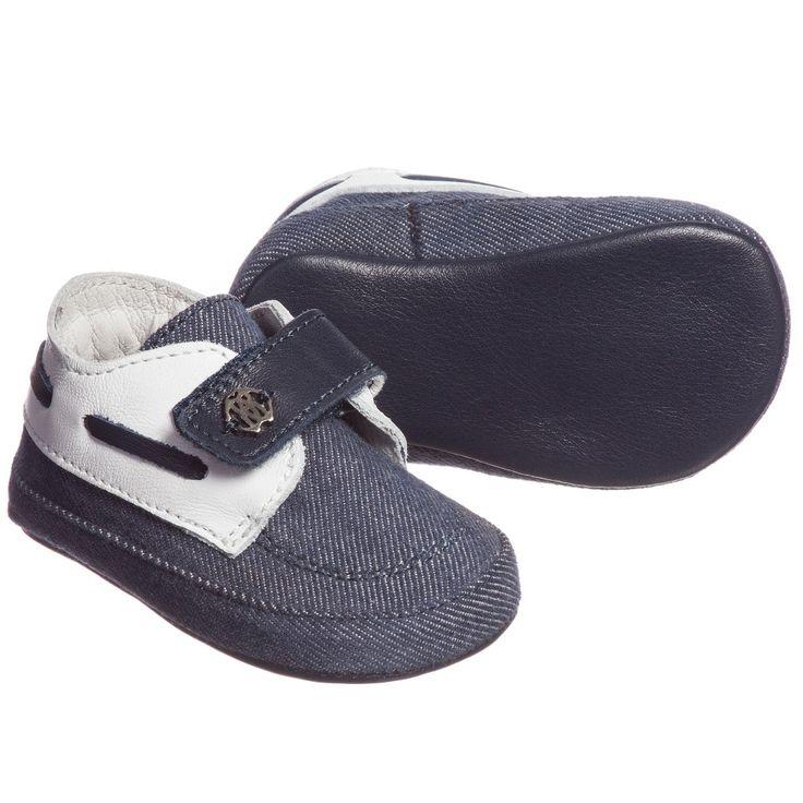Baby Boys Blue Denim Pre-Walker Shoes, Roberto Cavalli, Boy