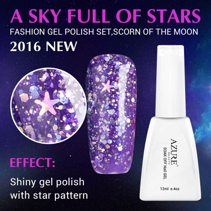 Azure Hot Sale Purple Color Glitter Nail Gel Polish Soak Off Base Top Gel Nail Polish Nail Art Fashion UV Nail Varnish 12ML Gel