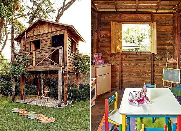 """A solução foi criar um modelo suspenso. """"As crianças queriam que ela parecesse com uma cabana, por isso optei por não tingir a madeira"""", conta o paisagista Odilon Claro. A construção de 12 m² conta com escada de ferro galvanizado e tubo de bombeiro. A parte de baixo foi forrada com pedriscos. A casinha foi decorada com mesa, cadeira e minifogão. Das janelas, avista-se o jardim."""