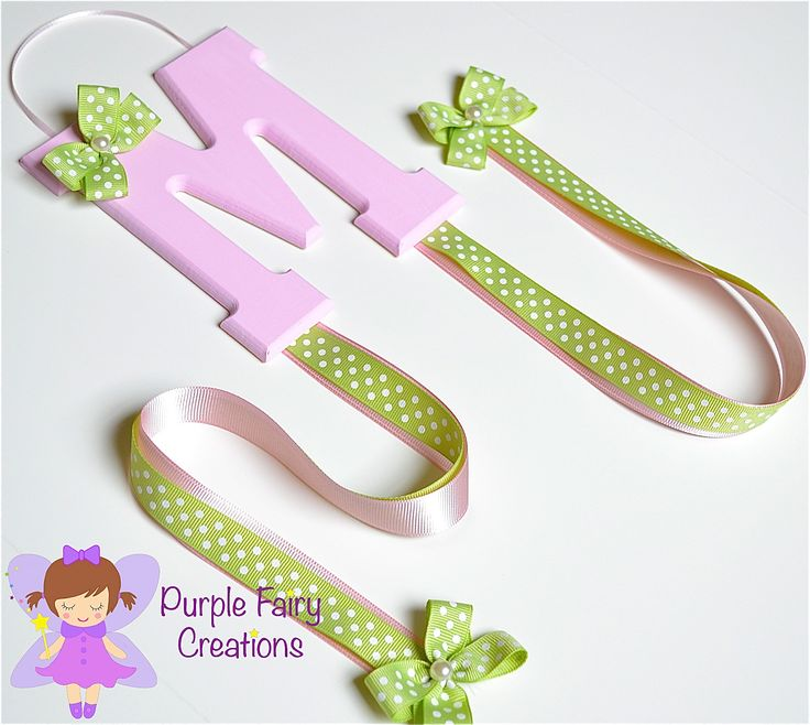 Initial Letter Hair Accessories Organizer - Baby Pink and Sage Green (Hair Bow and Headband Holder) Baby Girl, Girl or Teen Room Wall Decor (Organizador de Accesorios del Cabello / Pelo para Niña) by PurpleFairyCreations on Etsy