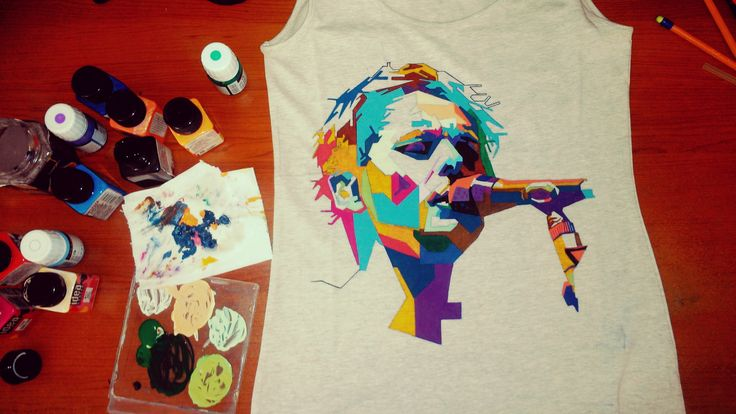 #troistone #tshirt #handmade #design #makingof #progress #color #geometric #triangles