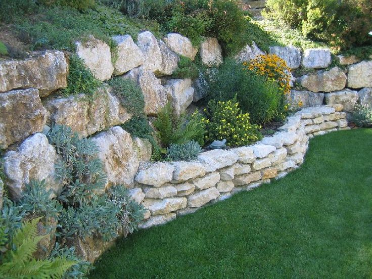 Rockery Garden, Rock Retaining Wall, Diy Patio, Rock Wall, Raised Bed,  Garden Walls, Back Yard, Patio Curtains, Flowers Garden