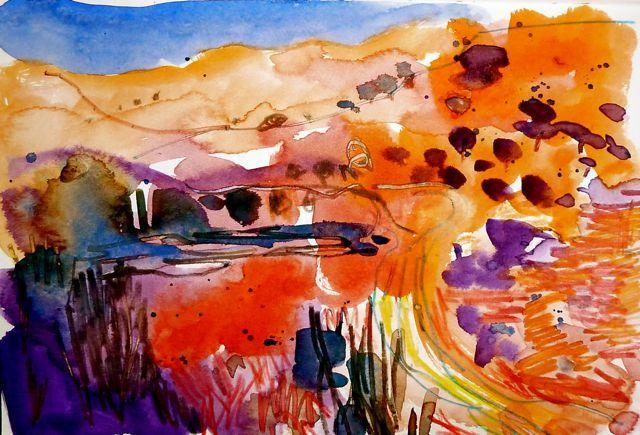 Watercolour  Barbara  Rae inspired landscape. 03/09/10. by Sue Hodnett, via Flickr