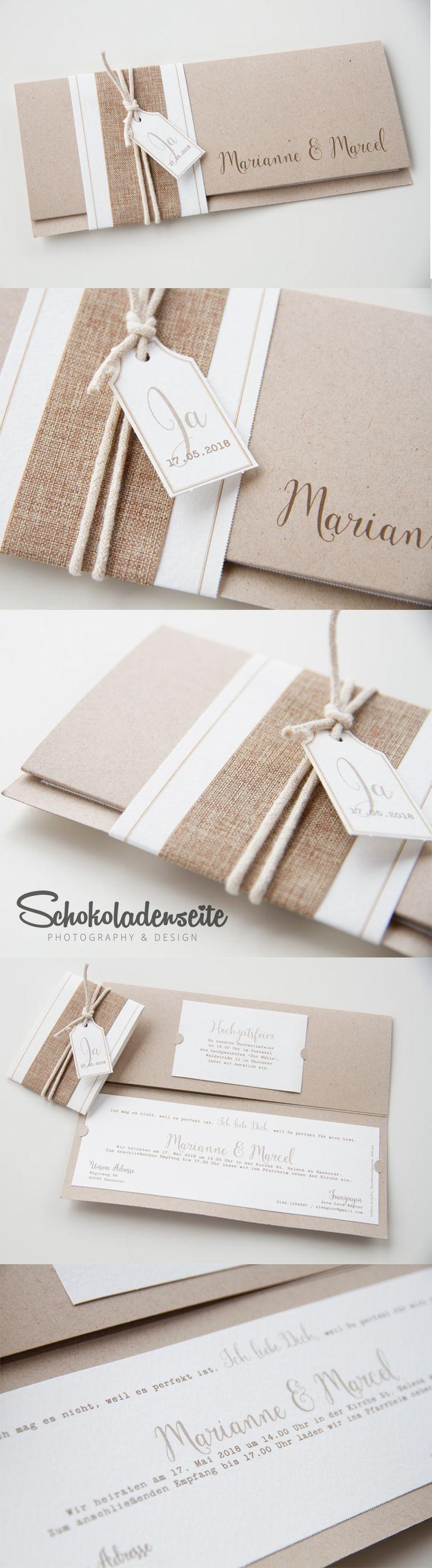 Ihr Mäuse, hier eine unserer bezaubernden Kraftkartonkarten. <3 Mit vielen kleinen Details, hochwertigen Papieren und rustikalen Bändern ist sie ein absolutes Highlight. <3 #wedding #weddinginvitation #schokoladenseitekarten #love #beautiful #invitation