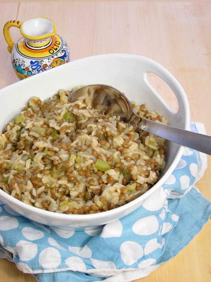 Healthy and Nutritious Lentil Risotto in the pressure cooker.  Soaking the lentils overnight allows both rice and lentils to cook together for the same time.  Just 7 mins cooking time.  #vegetarian #vegan