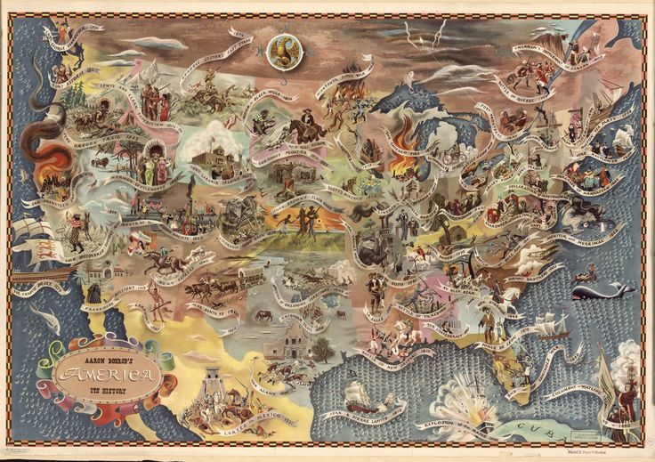 Bohrod's America, its history : pictorial map showing scenes from America's history with names of historical events, copyright 1946