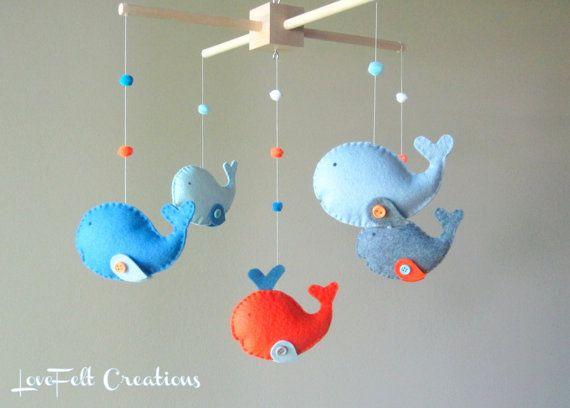 Baby Crib Mobile  Custom Baby Mobile  Whale Mobile di LoveFeltXoXo