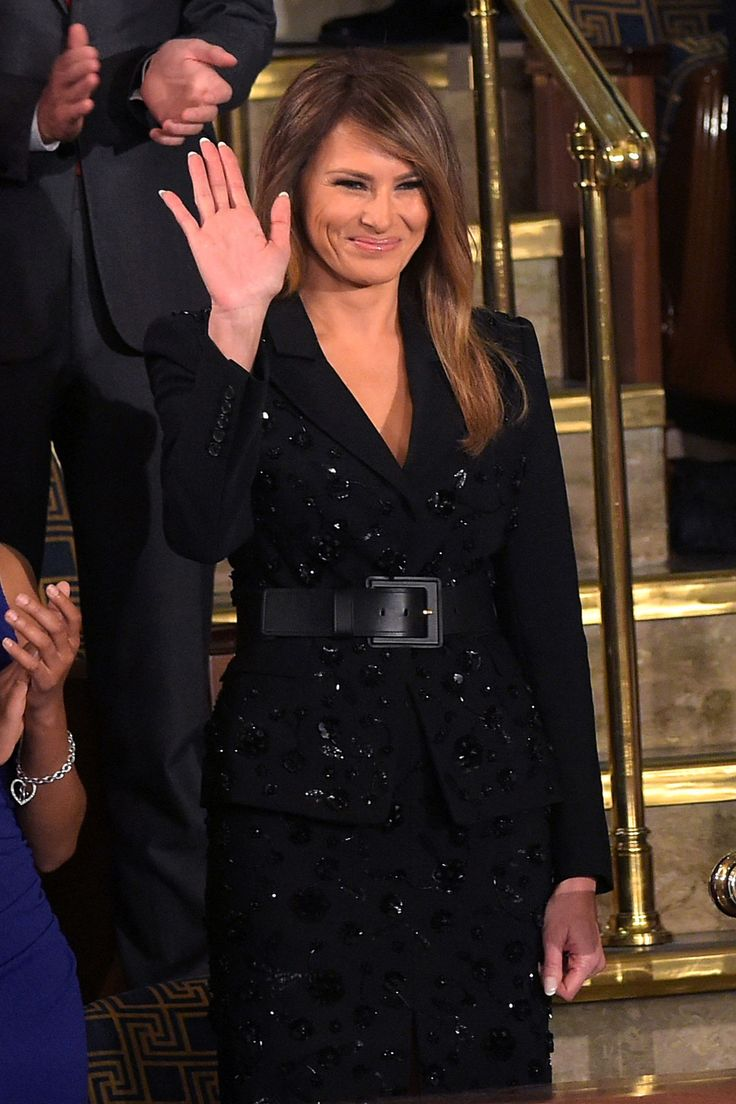 Melania Trump Is Covered in Sequins at the President's Address to Congress  - HarpersBAZAAR.com