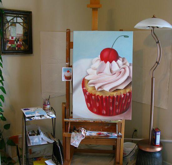 canvas paintings of cupcakes | Cupcake Painting by Sarah Wain