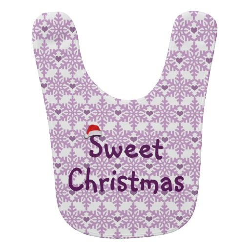 Snowflake heart pattern in purple-lavender color, Sweet Christmas Baby Bib. #fomadesign