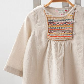 BONPOINT 2013AW baby smocking stitch one piece (natural 104 UPB IVOIRE) 18M-24M
