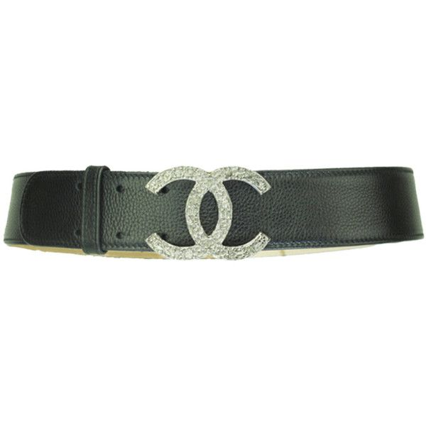 Chanel Black Leather Belt With Silver Logo Buckle ($1,029) ❤ liked on Polyvore featuring accessories, belts, wide belt, chanel, chanel belt, logo belts and silver buckle belt