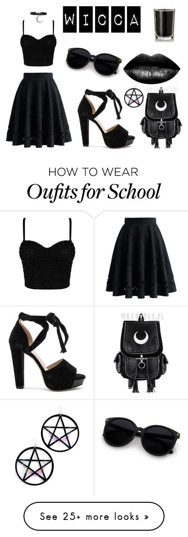 """Wicca"" by fireflypiano on Polyvore featuring Chicwish, Raye, The Lip Bar, Coqui Coqui, Boohoo and Marina Fini"
