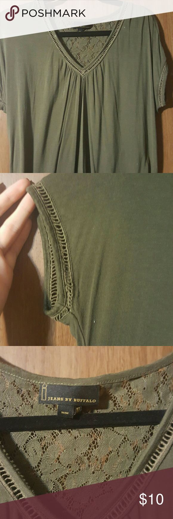V-neck Army Green Shirt with Lace Detailing Very cute army green top with lace detailing. From a clean smoke free home. Jeans by Buffalo Tops Blouses