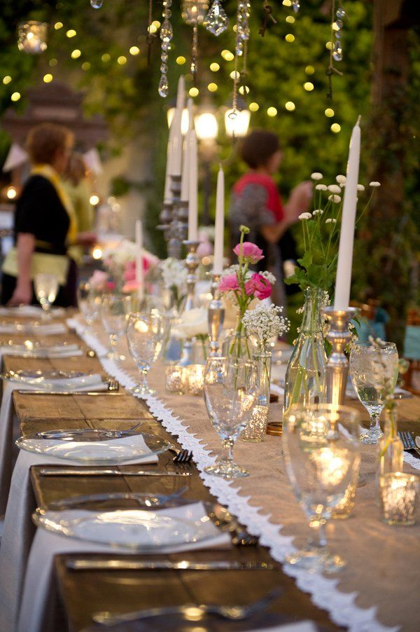 Tables at a vintage wedding