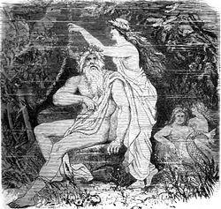 """Ægir (konge over havet) var i den nordiske mytologi en af tre jætter, som bor hos aserne. De to andre er Loke (der repræsenterer ild) og Kari (der repræsenterer luft). Navnet Ægir knytter sig til ordet for vand, og han er personificeringen af havet. Hans kræfter kan bruges både til godt og ondt, men har hele tiden med vandet og havet at gøre. Floden Ejderen kaldtes også """"Ægirs dør"""", og """"Ægirs kæber"""" var de tidevandsbølger og virvelstrømme som opslugte skibe til havs. Hans kolleger er græske…"""