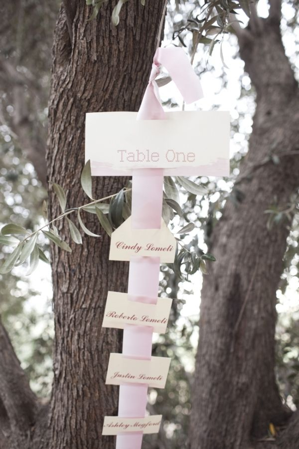 seating chart displayed on ombre ribbons // photo by SaraLucero.com