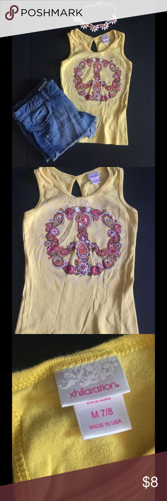Xhilaration girls tank top Bright yellow tank top, size is medium (7-8) girls. Peace sign is colorful with maroon sequins on it.   Fun summer shirt! Xhilaration Shirts & Tops Tank Tops