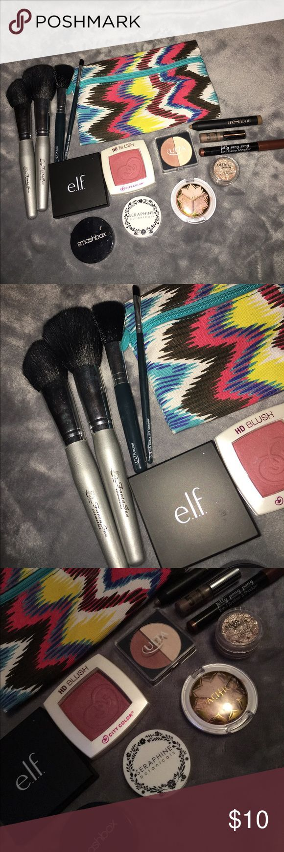 Eye shadows & blushes. Eye shadows, blushes, Liquid eye shadows, brushes. All different brands: elf, Pacifica, Ulta, Smashbox, FantaSea Brushes, baremineral mini liquid eyeshadow, JellyPongPong & more. SOLD AS IS. never used. Swatched for reviews only. Travel sizes and full sizes. ELF Makeup Eyeshadow