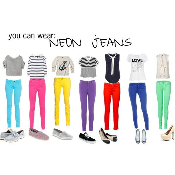 """How to wear Neon Jeans"" by dominiquee920 on Polyvore"