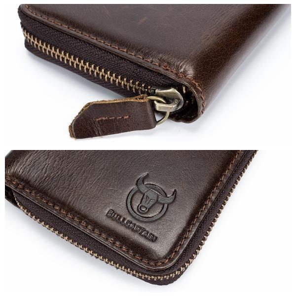 Bullcaptain Men RFID Blocking Secure Antimagnetic Genuine Leather 10 Card Slots