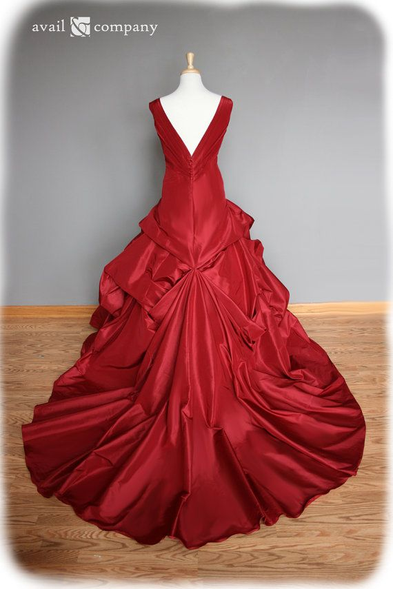 Red Wedding Dress Ball Gown Silk Taffeta Custom Made to par AvailCo