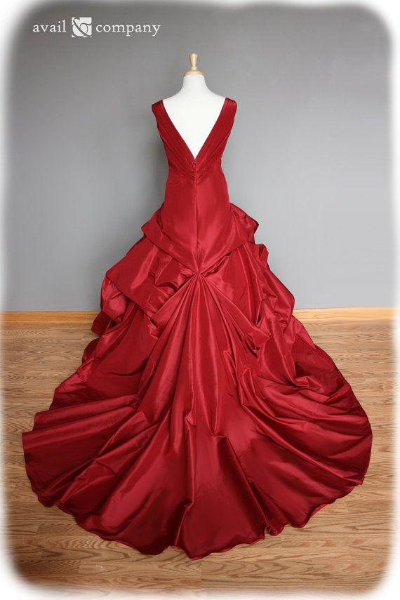 Red Wedding Dress Ball Gown Silk Taffeta Custom Made to by AvailCo, $2380.00