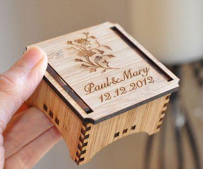 Personalised CUSTOM RING BEARER BOX RUSTIC BAMBOO WOOD Laser Cut WEDDING | eBay