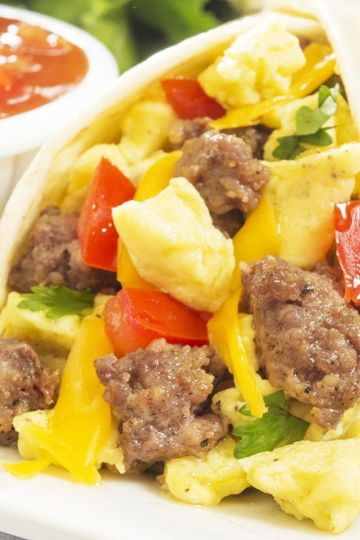 Low Calorie Southwest Breakfast Burritos with Eggs, Sausage & Cheese Recipe