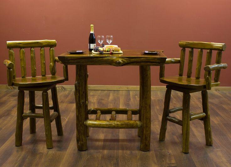 Good Cedar Lake Cabin Square Log Pub Table