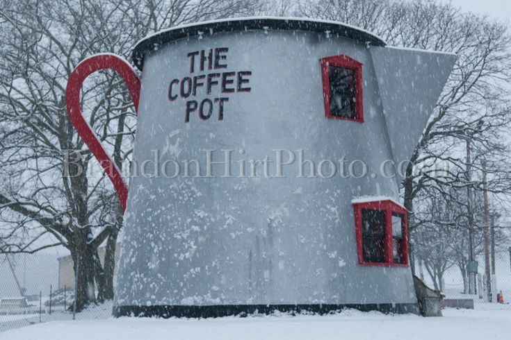 A personal favorite from my Etsy shop https://www.etsy.com/listing/217220219/coffee-pot-snow-bedford-pennsylvania