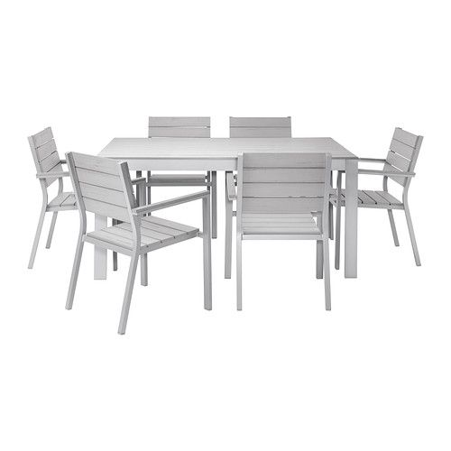 FALSTER Table+6 chairs w armrests, outdoor - grey - IKEA