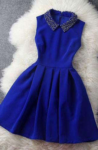 cute decorated collar sapphire blue dress