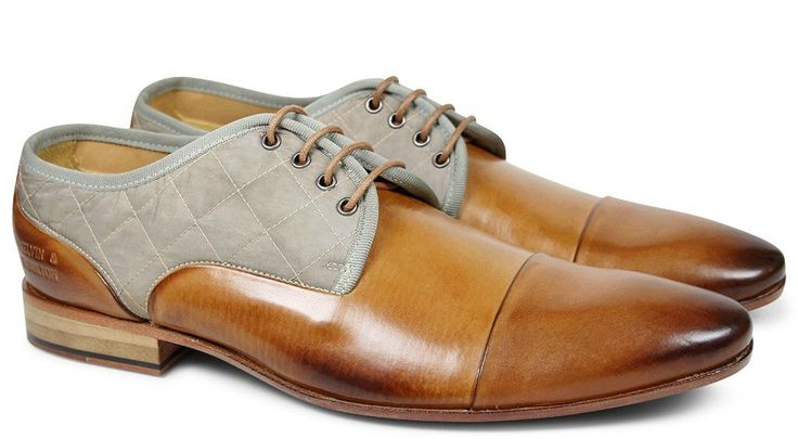 Melvin and Hamilton Tan & Grey fabric casual Derbys, smooth style for $214 Australian (or 149 Euro, or 165 US).
