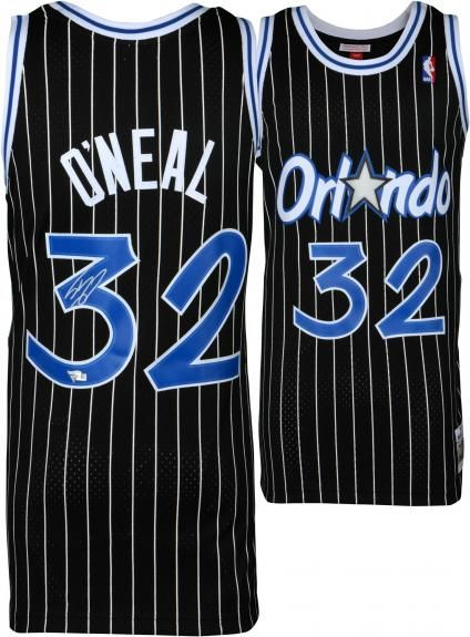 db3147887 Shaquille O Neal Orlando Magic Autographed Mitchell   Ness Black Pinstripe  Replica Jersey - Authentic Signed