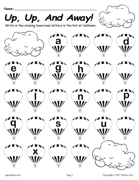 free printable lowercase alphabet worksheet fill in the missing letters hot air balloon theme. Black Bedroom Furniture Sets. Home Design Ideas