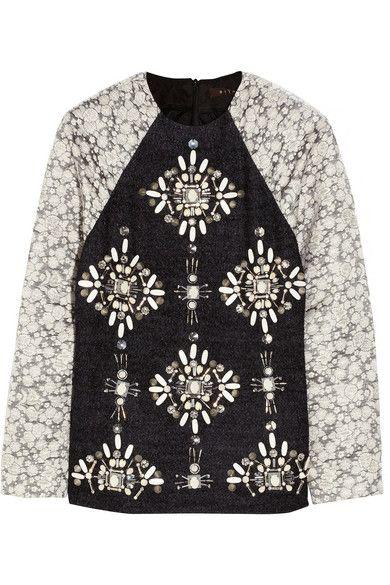 jewel embellished boucle & taffeta top